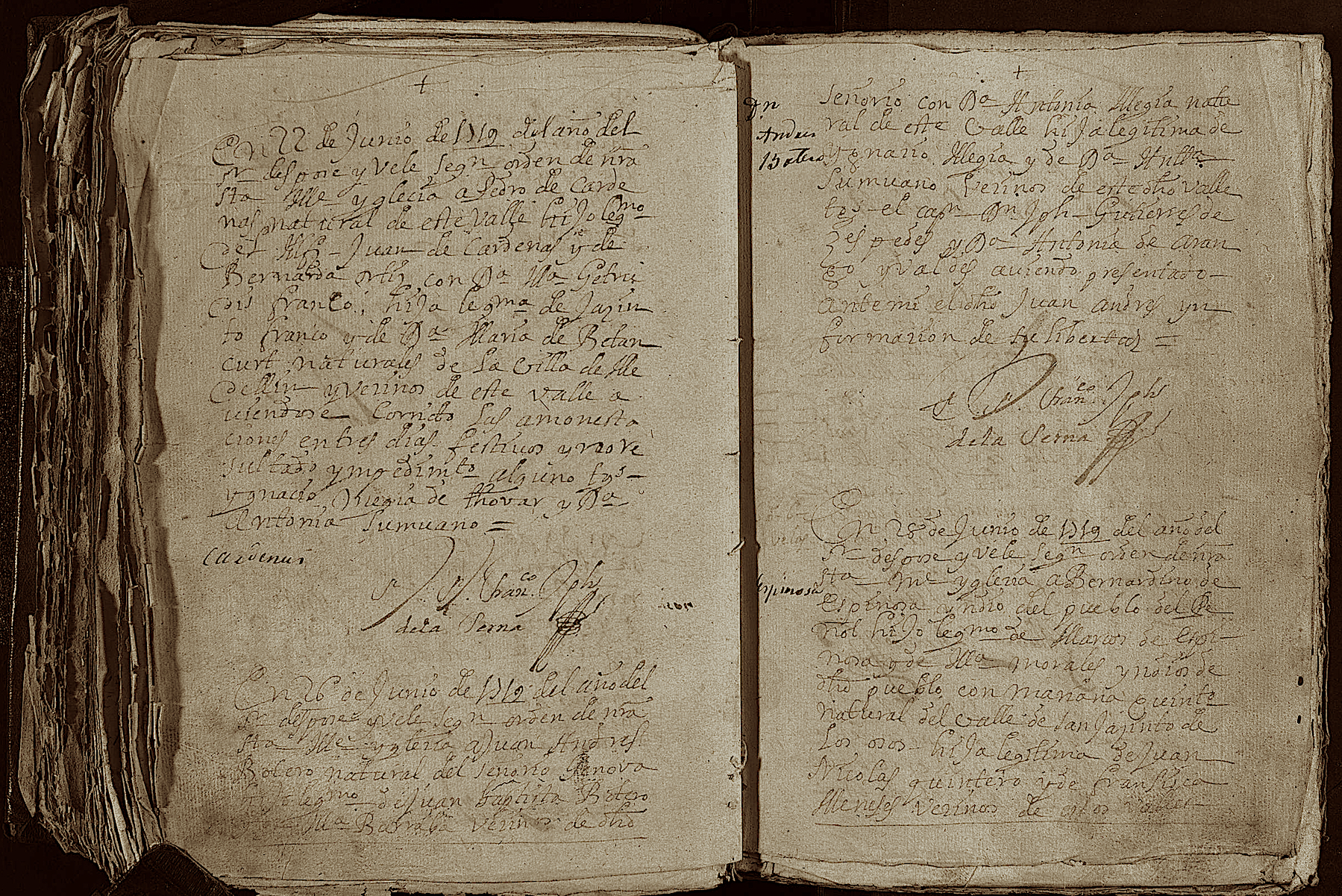 Partida de Matrimonio de Don Juan Andrés Botero y Doña Antonia Mejía.               Siglo XVIII
