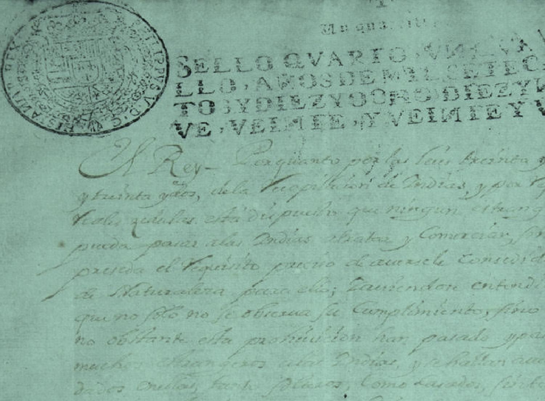 REAL CÉDULA DEL SIGLO XVIII (Extranjeros)